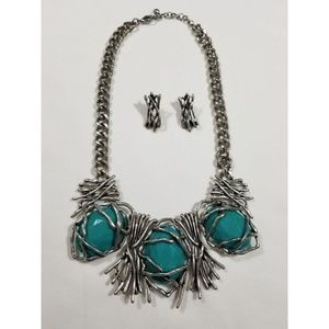 NEW Turquoise Statement Necklace 19' long